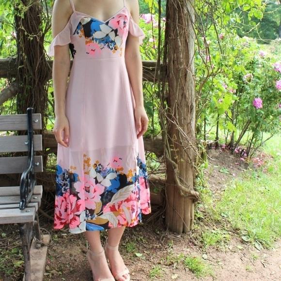 Express Dresses & Skirts - Express Pink Floral Off-the-Shoulder Midi Dress